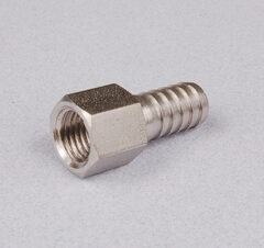 "Stainless Steel 3/8"" Barbed Stem and Chrome-Plated Swivel Nut"