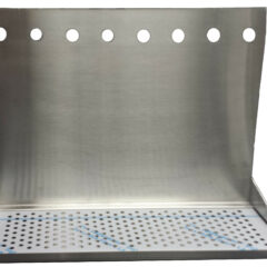 "8 Hole Wall Mount Drip Tray 24"" with Drain and 18"" Backsplash"